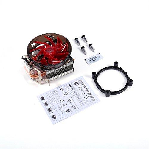 #N/A Rojo y Azul CPU Cooler Cobre Doble Tubo de Calor CPU Radiador Torre de latón CPU Fan Rojo
