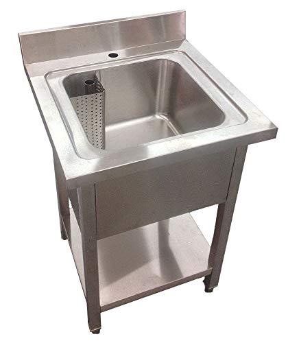 Commercial Stainless Steel Single Bowl Sink Restaurant Catering Kitchen 600mm Width