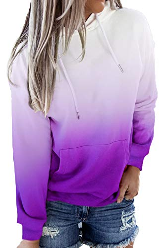 HVEPUO Women Tie Dye Long Sleeve Lavender Hoodie Light Purplu Ombre Lovely Working Soft Hoodies Lightweight Workout Pull Over Sweatershirt Purple XL