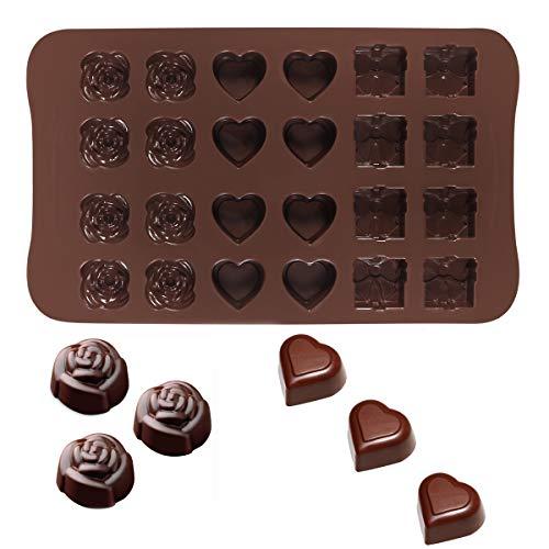 24 forma cuore rosa cavità forma di cioccolato fai da te stampo caramelle cupcake stampo gelatina di cottura regalo scatola (caffè)