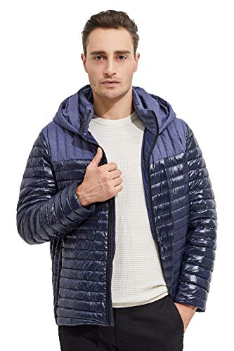 Orolay Men's Light Down Jacket Quilted Bubble Winter Coat Patchwork Puffer Jacket Dark Sapphire L