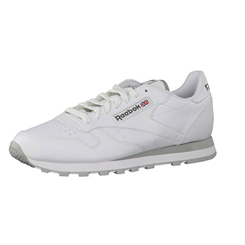 Reebok Classic Leather - Zapatillas de cuero para hombre, color blanco (int-white / lt. grey), talla 42