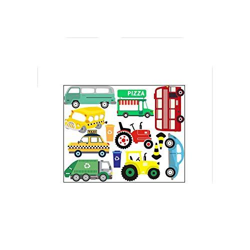 Grüner Wandaufkleber |Cartoon Autos Farbe Wandaufkleber für Kinderzimmer Junge Schlafzimmer Wandkunst Abziehbilder Fenster Poster 3D Auto Wallpaper Kind Gifs Home Decor-CS1006E-