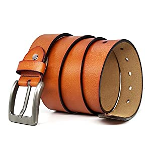 Belts for Men Genuine Leather Casual Belt for Dress Jeans