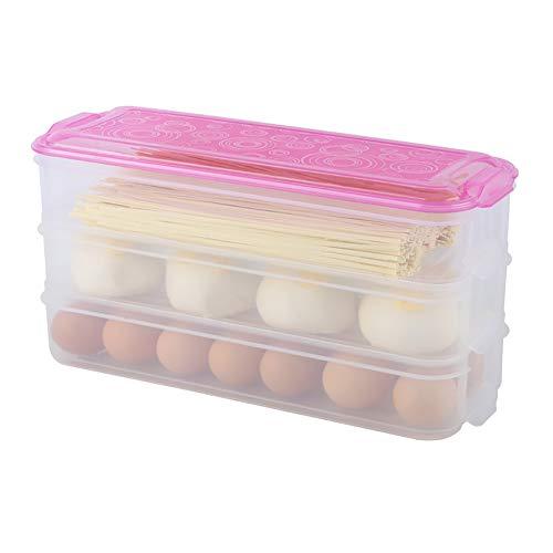 Eten opbergdoos Plastic Multi-Layer Keuken Koelkast Rechthoek Bevriezen Bewaar Container met Deksel 3 Pack roze