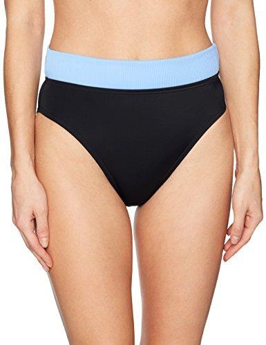 COCO RAVE Junior's High Leg Bikini Bottom Swimsuit, Good Vibratinos Jet Black Marl, X-Small