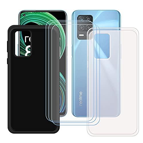szjckj 2 x Funda para OPPO Realme 8 5G (6,5')+ 3 x Protector de Pantalla, Case Cover Carcasa Bumper Negro + Translúcido Clear TPU Silicone Cristal Vidrio Templado.