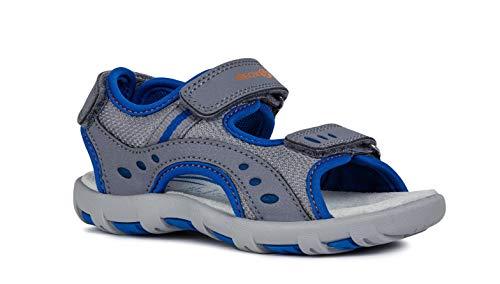 Geox Sandal PIANETA J9264A Unisex - Kinder Trekking Sandalen,Jungen,Mädchen Outdoor-Sandale,Sport-Sandale,Aussensteg,3-Fach Klett,Grey/ROYAL,36