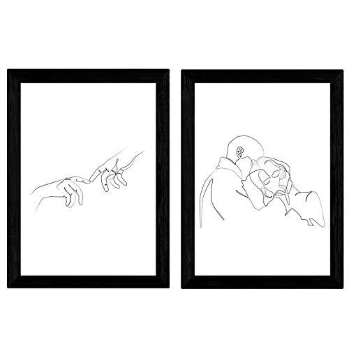Nacnic set van 2 vellen tekeningen met een veeg