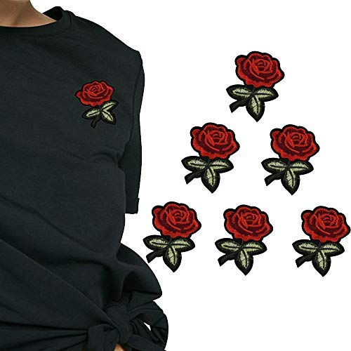 6 Pcs Rose Embroidery Badge Clothes Fabric Patch Applique Decor DIY Transfer Paper Patches Clothing DIY Decor Sticker Washable Iron On Appliques
