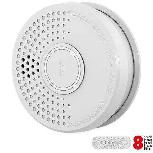 Rauchmelder 8er Set mit 10 Jahre Garantie inkl. 8X 9V Batterie geprüft nach DIN EN14604 und BSI Zertifiziert - 8 Stück Rauchwarnmelder Feuermelder Brandmelder Feueralarm