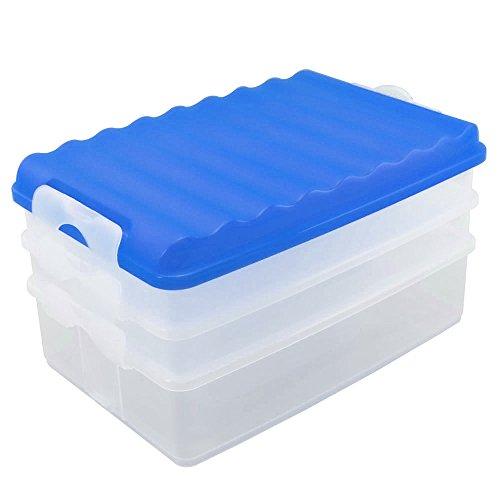 com-four® 4-teiliges Aufschnittdosen-Set, eckig, mit Deckel, Behälter transparent, Deckel blau, ca. 25 x 15,5 x 14 cm (1 Set/blau)