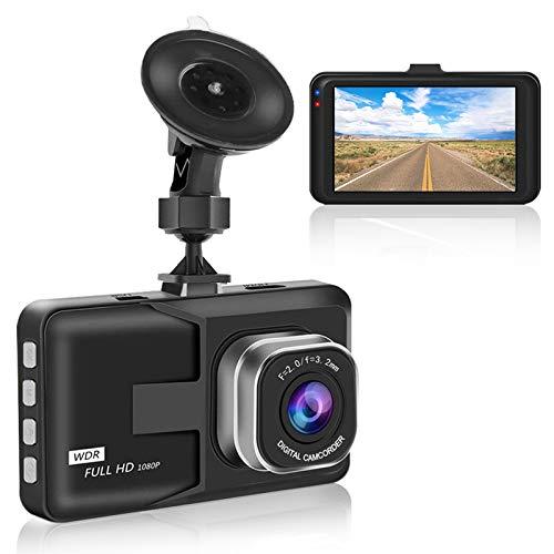 Aigoss Dashcam Autokamera Video Recorder 1080P Full HD mit Weitwinkel, 3 Zoll LCD-Bildschirm Nachtsicht, G-Sensor Bewegungserkennung Notschlösser Loop-Aufnahme Parküberwachung - Schwarz