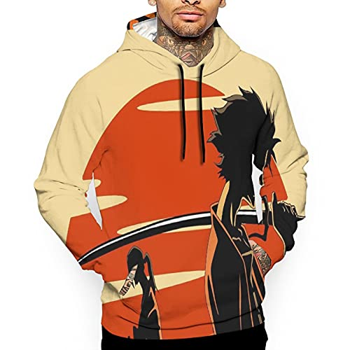 Sudaderas de manga larga para hombre Samurai Champloo Mugen y Jin Graphic Pullover Hip Hop Sudadera con capucha con bolsillo canguro S-Xxl, blanco, M