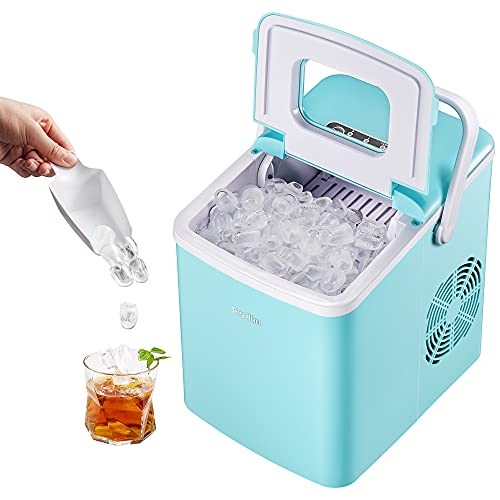 Ice Maker, Portable Ice Maker Machine for Countertop, 9 Cubes Ready in 6 Minutes, 28.7 lbs Ice in 24 Hours Home Mini Ice Machine with Ice Scoop and Basket, for Parties Mixed Drinks