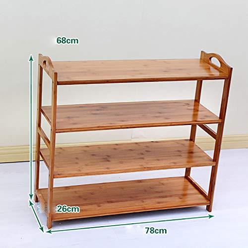 Zapatero de bambú, 100% natural y renovable, muy pesado y duradero zapatero de madera, estante multifuncional de almacenamiento adecuado para pasillo, sala de estar, dormitorio, tamaño opcional/capa zapato Ra, Cuatro, 78cm