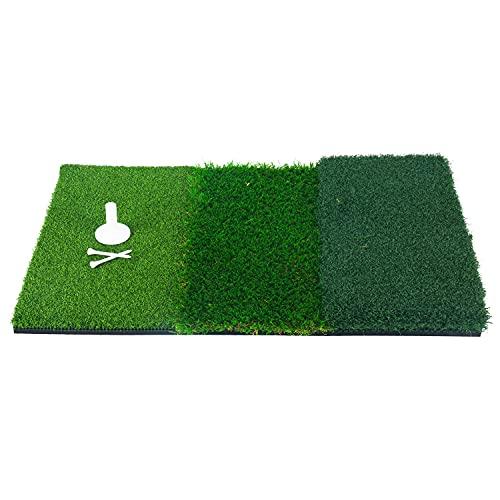 FreeTec Golf Übungsmatte Trainingsmatte 64 x 41 cm Golfmatte 3 unterschiedlichenOberflächen Kunstrasen tragbare Abschlagmatte inkl. Gummi Tee