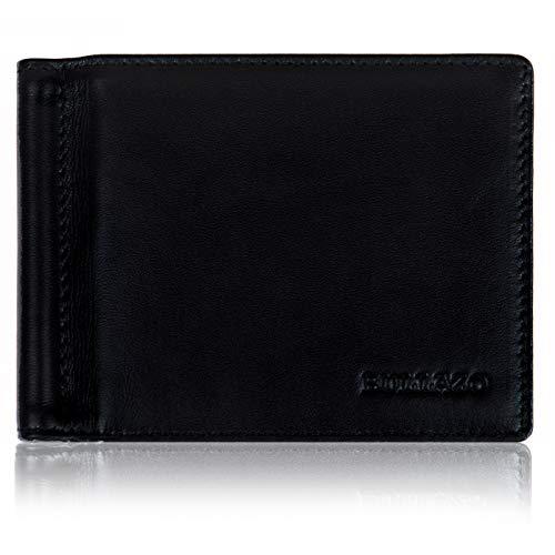 BULLAZO Fino, Herrengeldbörse mit Geldklammer + RFID Schutz, Leder, Schwarz