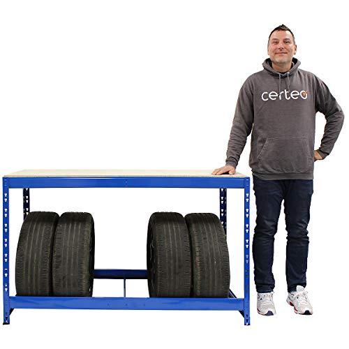 Certeo Reifenregal   Für 7 Reifen   HxBxT 900 x 1400 x 600 mm   Inklusive Werkbank   Garagenregal Kellerregal Werkstattregal