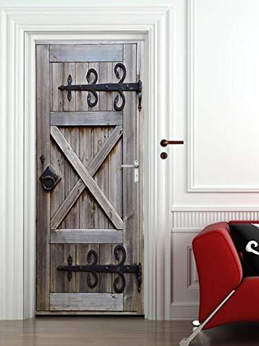 BXZGDJY 3D-deursticker, deurfolie, retro, oude houten deur, 3D-deursticker-uitgang, decoratie, deur-wand-papier-wandfoto, Pvc-waterdichte zelfklevende schaal en stok-deur, wandbehang, kunstdecoratieve muur 95X215CM