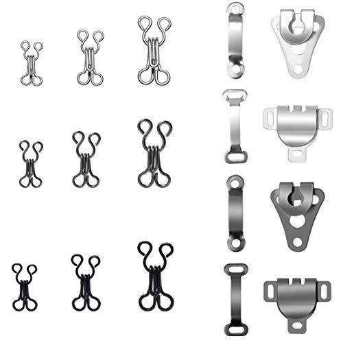 Homgaty 130 Paar Nähhaken und Ösenverschluss Ersatz-BH-Haken für Hosen, Röcke, BH und Kleidung (4 Größen)