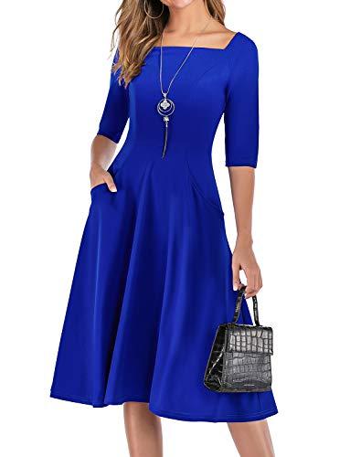 Vestiti Anni 50 Donna Vintage Cocktail Partito retrò Swing Abito Elegante Royal Blue S