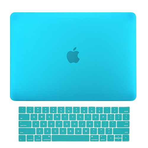 TOP CASE MacBook Pro 13 inch Case 2019 2018 2017 2016 Release A2159 A1989 A1706, 2 in 1 Signature Bundle Rubberized Hard Case + Keyboard Cover Compatible MacBook Pro 13' Touch Bar, Aqua Blue