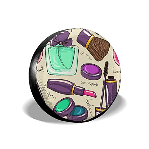 JISMUCI Spare Tire Cover,Cosmetic and Make Up with Perfume and Lipstick Nail Polish Brush Modern City Lady,Dust-Proof Waterproof Wheel Covers for JP,RV,Trailer,Camper,SUV,Truck,15inch