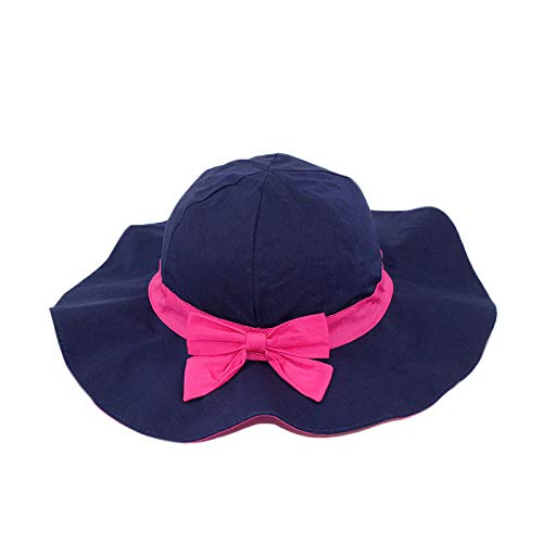 MONODY Baby Toddler Kids Girl Sun Hat Outdoor Summer Play Hat with Wide Brim (M 18.89-19.68 inch for 2-3 Years Old Kid) Blue and Red