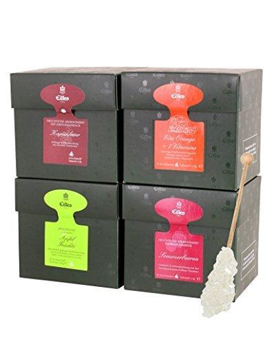 EILLES Fruchtzauber Tea Diamond 4er Set mit Früchtetee und Gourvita Moments Kandisstick