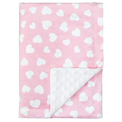 Comfy Cubs babydecke weiche Minky Swaddle Cuddle Reversible Unisex-Design Infant New Born Geschenk groß (pink Hearts)