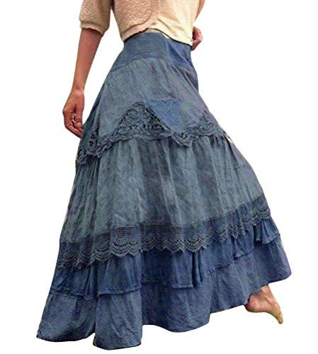 Faldas Mujer Falda Larga Vintage Faldas Largas Plisadas Costura De Encaje Falda Mecedora Grande Faldas De Picnic Retro Falda Larga Azul L