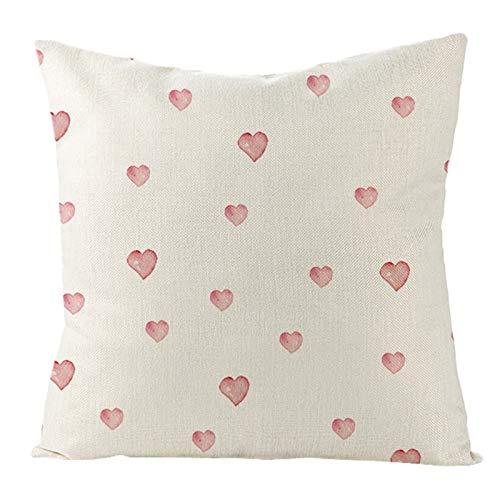 AtHomeShop 45 x 45 cm, fundas de cojín decorativas en lino con corazón, suaves, cómodas, cuadradas, para sofá, dormitorio, oficina, coche, salón, terraza, decoración - rosa, estilo 4