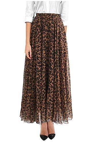 ZAKIA Women's Leopard Print Watercolor Chiffon Maxi Skirt High Waisted Casual Pleated Short Dress (Brown, Large)