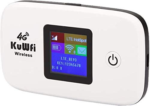 Router 4G con sim portatile,KuWFi Router 4G LTE con slot per schede SIM Lavorare con SIM Card Italia Facile da trasportare utilizzare Outdoor aggiornamento B1 / B3 / B7 / B8 / B20