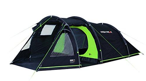 High Peak Tunnelzelt Atmos 3, Campingzelt mit Zeltboden, Trekkingzelt für 3 Personen, 2 Eingänge, doppelwandig, 4.000 mm wasserdicht, Ventilationssystem, Moskito- und Klarsicht-Fenster, windstabil