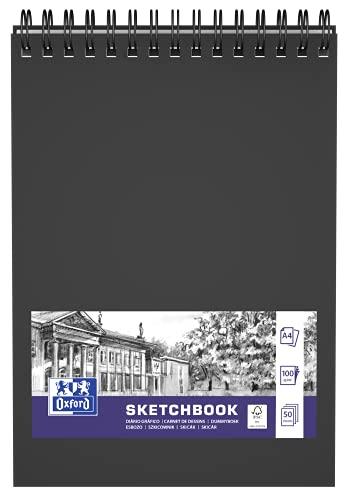 OXFORD SKIZZENBUCH - Cuaderno de espiral doble (50 hojas, 100 g), color negro
