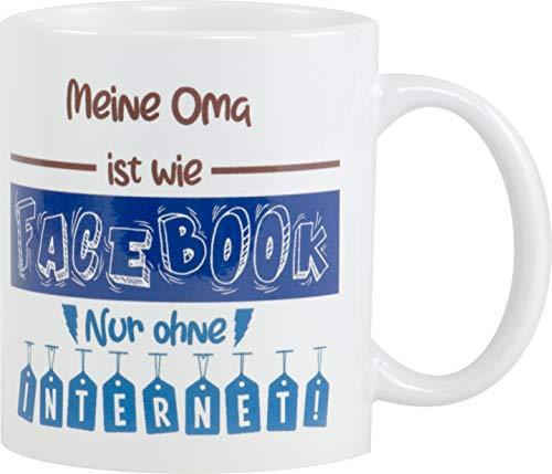 REDPRICE GMBH Meine Oma ist wie Facebook Kaffeetasse Bedruckt Spruch-Tasse Foto-Tasse Chef Teetasse Lustig Witzig Geschenk Oma Facebook