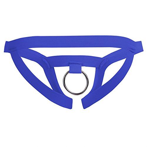 IEFIEL Tanga Abierto Sexy Hombre Ropa interior Lencería Crotchless G-string Calzoncillos Suspensorios con O-Ring Jockstrap con Hueco Azul Talla Única
