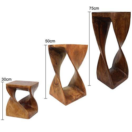Oriental Galerie Säule Ständer Gedreht Podest Hocker Tisch Beistelltisch Holz ca. 75 cm Braun