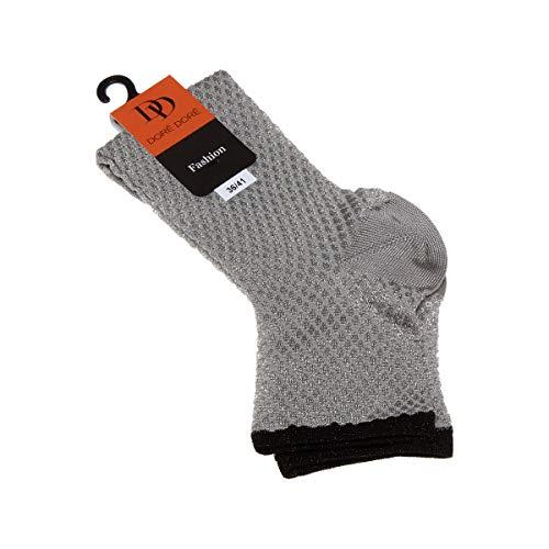 Dore Dore Socke Kurz - 1 paar - verstärkte Ferse - Verstarkte zehen - Flachnaht - ohne Frotte - Jacquard - Fine - Viscose - Argent - DD Fashion - 36/41
