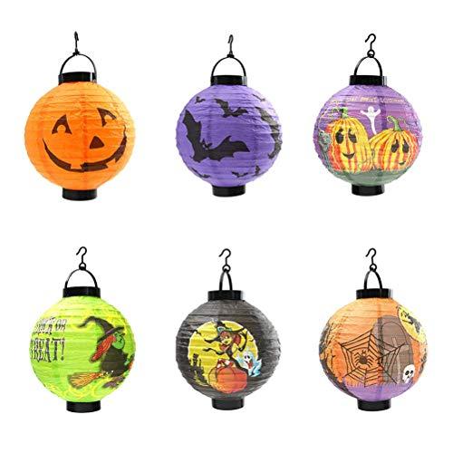 JLZK Protección del Entorno de Seguridad. 6pcs con Temas de Halloween de Papel Que Brilla linternas LED Luces Decorativas Colgantes Plegables Festival de la Linterna