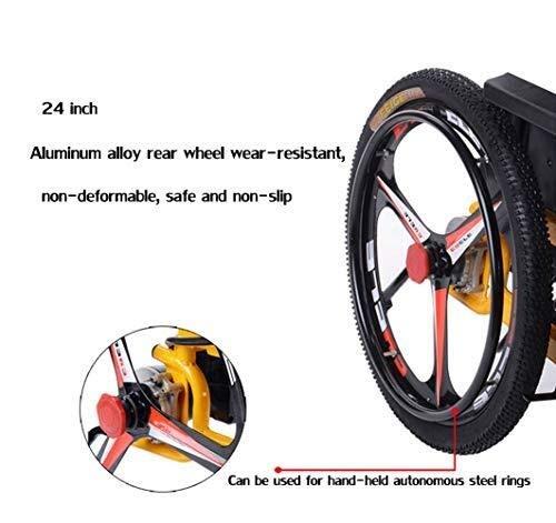 41nKbWBDb3L - Sillas de ruedas HYL-silla de ruedas eléctrica Luz silla de ruedas plegable portátil de energía de parasitismo - 24 Inchs Silla de ruedas eléctrica for los ancianos, discapacitados y hemiplejía pacien