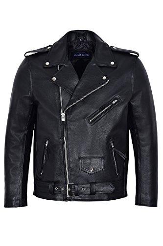 Film Classique Noir Marlon MBF Brando pour Homme The Wild One Inspiré Johnny Strabler Biker Moto 100% Cuir de Vachette Veste (S)