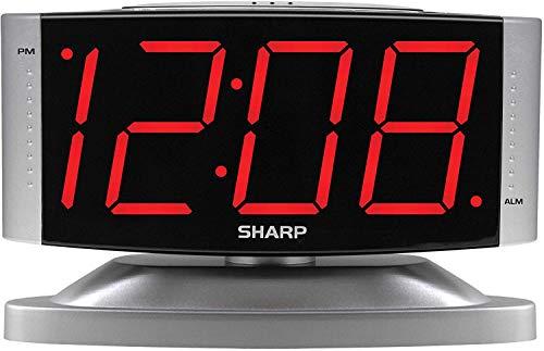 SHARP Home LED Digital Alarm Clock – Swivel Base - Outlet Powered, Simple Operation, Alarm, Snooze, Brightness Dimmer, Big Red Digit Display, Silver Case