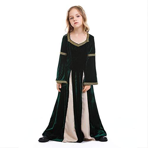 Medieval Princess Queen Costume Gown Robe Green Swing Dress Kid Vampire Disfraces de Halloween