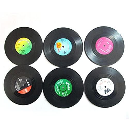 SAIBAO Posavasos de Disco Retro de 6 Piezas con Soporte Posavasos de Disco de Vinilo Antideslizante Creativo Koffie Mok Cup Onderzetters Hittebestendig Pads-B 6pcs Negro