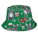 GMGMJ Gris Francés Bulldog Bucket Sombreros Unisex Actividad al aire libre Sol Protección Pescador Sombrero Cómodo Material Campamento Tapas Sol Tapas para uso Casual
