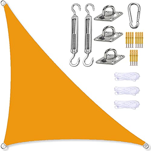GOODLUKY Sonnensegel Dreieckig, wasserdichte 95% UV-Block-Sonnenschutz-Markise Gartenterrasse Sonnenschutz-Markise Im Freien Mit Kostenlosen Seilen (Orange),5×5×7.1m