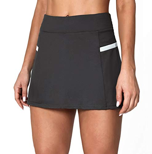 POSHDIVAH Women's Athletic Skirts with Built-in Shorts Skorts for Tennis Golf Running Workout and Casual Grey S